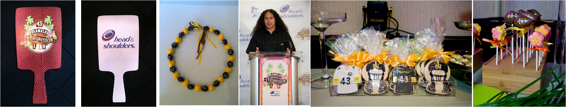 troy polamalu event branding pittsburgh steelers 43 black and yellow football polynesian luau 2012 2013