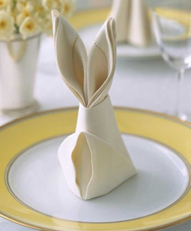 bunny napkin tablescape for easter