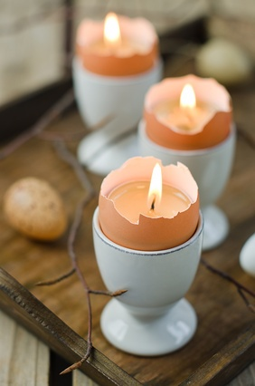 cracked egg candle votives