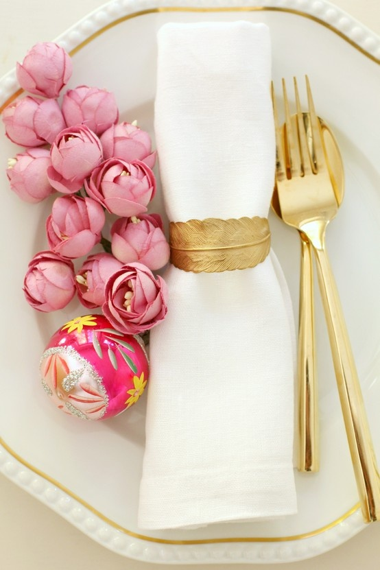 easter place setting pink and gold