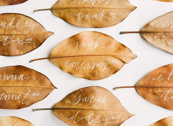 leaf place card for wedding or event