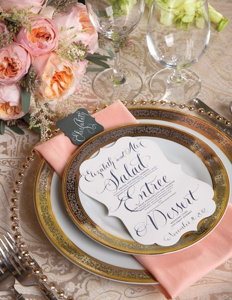 The Event Group, Pittsburgh, weddings, menus, elegant, place settings
