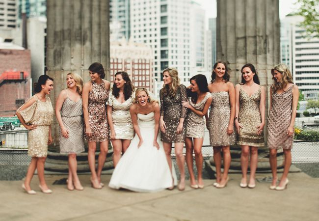The Event Group | Pittsburgh, PA | event planner | wedding planner | bridesmaid dresses | Bella Bridesmaid | neutrals with sparkle