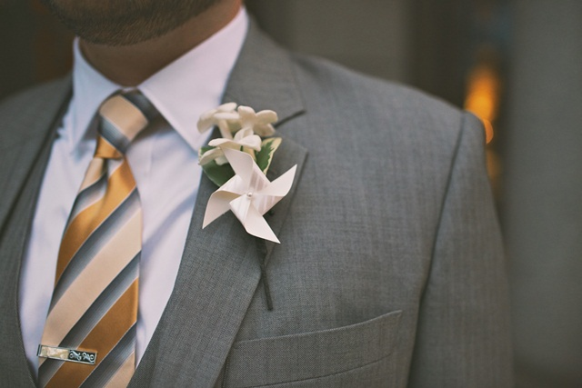 Hot Metal Studio Pin Wheel Boutonniere | The Event Group Weddings | Pittsburgh